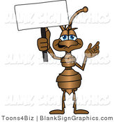 Vector Illustration of a Happy Ant Holding a Blank Sign and Waving by Toons4Biz