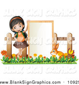 Vector Illustration of a Happy Asian Girl with a Bunny Rabbit and Sign by Graphics RF