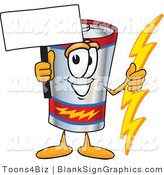 Vector Illustration of a Happy Battery Holding a Blank Sign and Waving by Toons4Biz