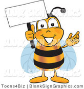 Vector Illustration of a Happy Bee Holding a Blank Sign and Waving by Toons4Biz