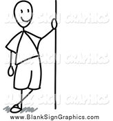Vector Illustration of a Happy Black and White Stick Man Leaning Against a Blank Sign by Frog974