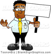Vector Illustration of a Happy Black Businessman Holding a Blank Sign and Waving by Toons4Biz
