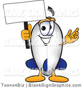 Vector Illustration of a Happy Blimp Holding a Blank Sign and Waving by Toons4Biz