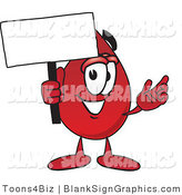 Vector Illustration of a Happy Blood Drop Holding a Blank Sign and Waving by Toons4Biz