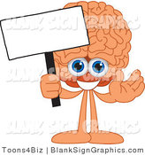 Vector Illustration of a Happy Brain Holding a Blank Sign and Waving by Toons4Biz
