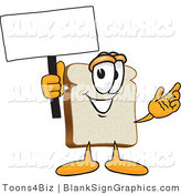 Vector Illustration of a Happy Bread Slice Holding a Blank Sign and Waving by Toons4Biz