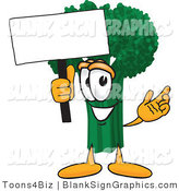 Vector Illustration of a Happy Broccoli Holding a Blank Sign and Waving by Toons4Biz