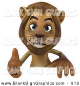 Vector Illustration of a Happy Brown Lion Character Giving the Thumbs up and Standing Behind a Blank Sign by Julos