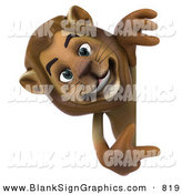 Vector Illustration of a Happy Brown Lion Character Pointing to and Looking Around a Blank Sign by Julos
