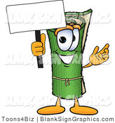 Vector Illustration of a Happy Carpet Holding a Blank Sign and Waving by Toons4Biz