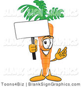 Vector Illustration of a Happy Carrot Holding a Blank Sign and Waving by Toons4Biz
