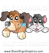 December 26th, 2014: Vector Illustration of a Happy Cat and Dog Looking over a Blank Sign by Visekart