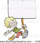 Vector Illustration of a Happy Caucasian Blond Boy Running with a Blank Sign on a Stick by Frisko