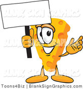 Vector Illustration of a Happy Cheese Holding a Blank Sign and Waving by Toons4Biz