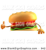 Vector Illustration of a Happy Cheeseburger Character Giving the Thumbs up and Standing Behind a Blank Sign by Julos