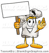 Vector Illustration of a Happy Chef Hat Holding a Blank Sign and Waving by Toons4Biz