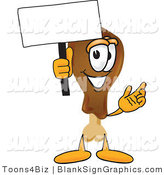 Vector Illustration of a Happy Chicken Drumstick Holding a Blank Sign and Waving by Toons4Biz