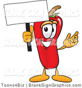 Vector Illustration of a Happy Chili Pepper Holding a Blank Sign and Waving by Toons4Biz
