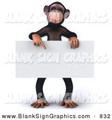 Vector Illustration of a Happy Chimp Character Pointing to and Holding a Blank Sign by Julos