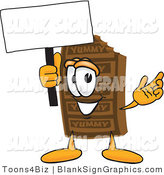Vector Illustration of a Happy Chocolate Bar Holding a Blank Sign and Waving by Toons4Biz