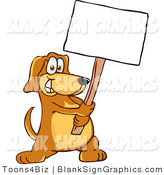 Vector Illustration of a Happy Dog Holding a Blank Sign by Toons4Biz