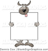 Vector Illustration of a Happy Dog Holding a Blank Sign over His Body by Djart