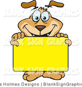 Vector Illustration of a Happy Dog Holding up a Blank Yellow Sign by Dennis Holmes Designs