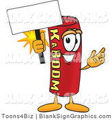 Vector Illustration of a Happy Dynamite Holding a Blank Sign and Waving by Toons4Biz