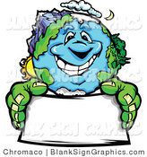 Vector Illustration of a Happy Earth Holding a Blank Sign by Chromaco