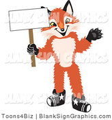 Vector Illustration of a Happy Fox Holding a Blank Sign and Waving by Toons4Biz