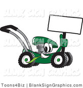 Vector Illustration of a Happy Green Lawn Mower Holding a Blank Sign by Toons4Biz