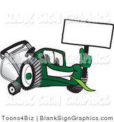 Vector Illustration of a Happy Green Lawn Mower Holding up a Blank Sign by Toons4Biz