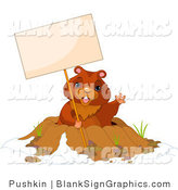 Vector Illustration of a Happy Groundhog Waving and Holding a Blank Sign over His Den by Pushkin