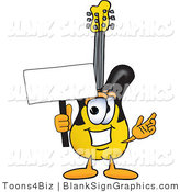 Vector Illustration of a Happy Guitar Holding a Blank Sign and Waving by Toons4Biz