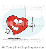 Vector Illustration of a Happy Heart Holding a Blank Sign by Hit Toon