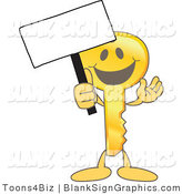 Vector Illustration of a Happy Key Holding a Blank Sign and Waving by Toons4Biz