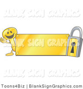 Vector Illustration of a Happy Key Waving by a Gold Blank Sign and Padlock by Toons4Biz