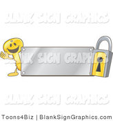 Vector Illustration of a Happy Key Waving by a Silver Blank Sign and Padlock by Toons4Biz