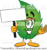 Vector Illustration of a Happy Leaf Holding a Blank Sign and Waving by Toons4Biz
