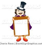 Vector Illustration of a Happy Magician or News Man Holding a Blank Sign by Cherie Reve