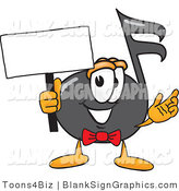 Vector Illustration of a Happy Music Note Holding a Blank Sign and Waving by Toons4Biz