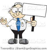 Vector Illustration of a Happy Nerdy Businessman Holding a Blank Sign and Waving by Toons4Biz