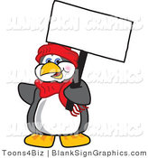 Vector Illustration of a Happy Penguin Holding a Blank Sign and Waving by Toons4Biz