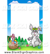 March 13th, 2014: Vector Illustration of a Happy Rabbit by an Easter Basket Frame Around White Space by Visekart