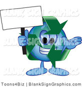 Vector Illustration of a Happy Recycle Globe Holding a Blank Sign and Waving by Toons4Biz