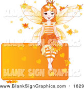 Vector Illustration of a Happy Red Haired Autumn Fairy Princess Sitting on a Blank Orange Sign with Leaves and Hearts by Pushkin