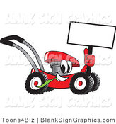 Vector Illustration of a Happy Red Lawn Mower Holding a Blank Sign by Toons4Biz