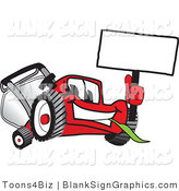 Vector Illustration of a Happy Red Lawn Mower Holding up a Blank Sign by Toons4Biz