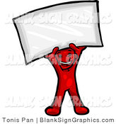 Vector Illustration of a Happy Red Person Holding a Blank Sign by Tonis Pan