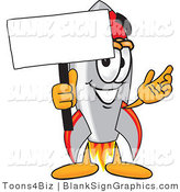 Vector Illustration of a Happy Rocket Holding a Blank Sign and Waving by Toons4Biz